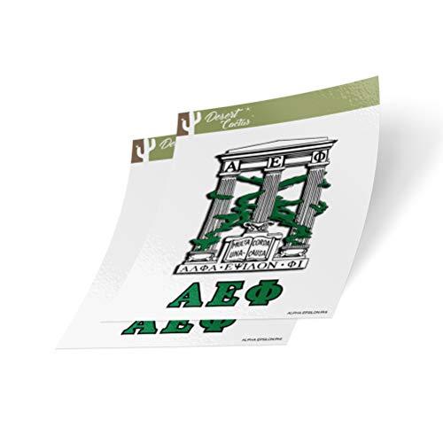 Desert Cactus Alpha Epsilon Phi Crest & Letter 2-Pack Sticker Decal Greek for Window Laptop Computer Car A E Phi (Crest Sticker)