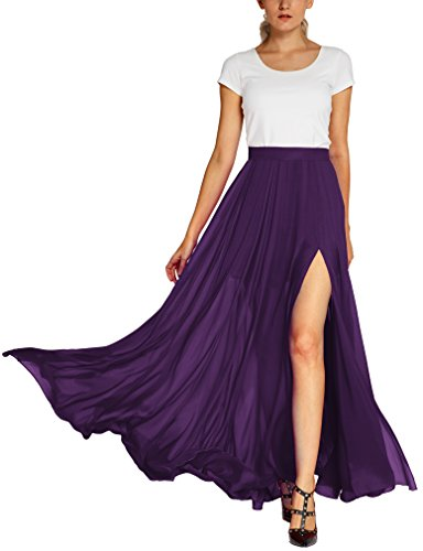 Urban CoCo Women's Fashion Solid Color Flowy Split Long Maxi Skirt (L, Purple)
