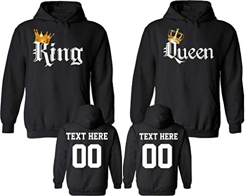 King Queen Color Pattern Customized Text Name Design Couple Hoodie Size Men L Women L
