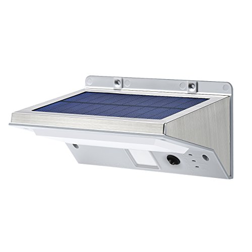 Stainless Steel Solar Lights, OPERNEE Bright 21 LED Outdoor Solar Powerd, Waterproof Security Motion Sensor Light for Patio,Yard,Driveway,Garden, Outside Wall with 3 Modes Motion Activated Auto On/Off (Solar Tube Led)