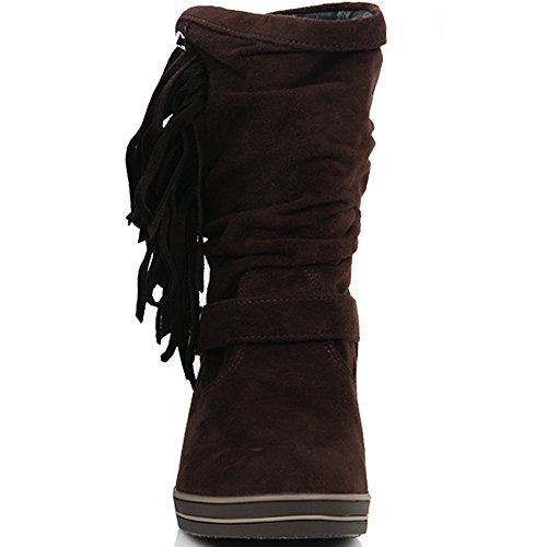 Winter Fashion Shoes Warm Calf Mid Brown Wedge Boots Heels Tassel New Casual Womens EFwOzqxCx