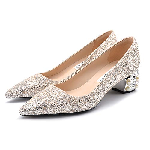 Thick Bridal Light Pearl Wedding Wedding 5Cm Sequins Shoes Rhinestone Yukun Heels Female Shoes Shoes Autumn High Gold Silver Wedding High heels With Pointed Single ABw6xqt0x