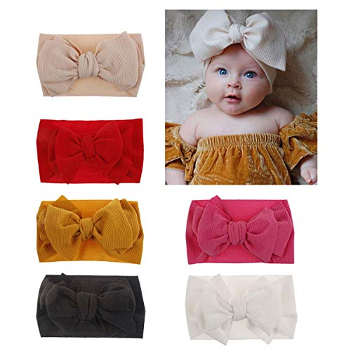 2019 Newest Baby Nylon Elastic Headbands Turban Knotted Fashion Big Bow Girl Hairbands Toddler Hair Accessories (2019-A) (Best Bow Accessories 2019)