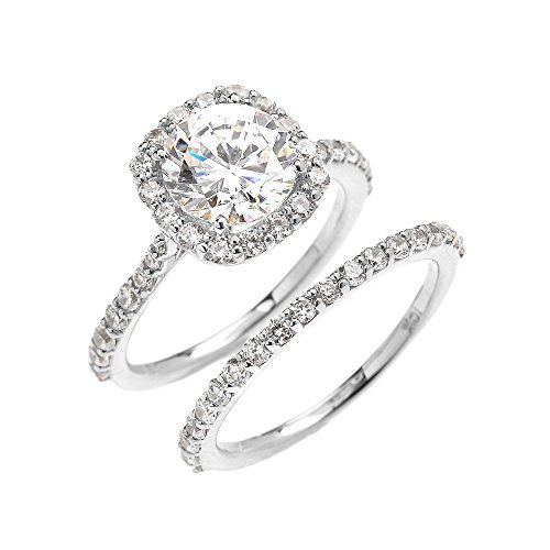 - 10k White Gold 3 Carat CZ Solitaire Halo Proposal Engagement and Wedding Ring Set (Size 5.5)