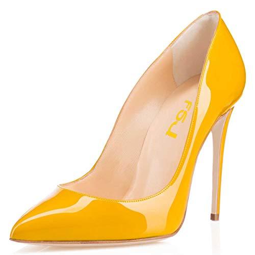 FSJ Women Formal Pointed Toe Pumps High Heel Stilettos Sexy Slip On Dress Shoes Size 13 Yellow -