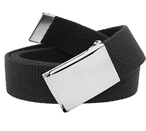 Men's Classic Silver Flip Top Military Belt Buckle with Canvas Web Belt Medium Black