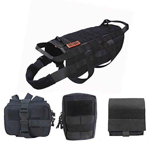 OneTigris Tactical Dog Molle Vest Harness Training Dog Vest with Detachable Pouches (Black, X-Large) (Best Dog Harness For German Shepherd)