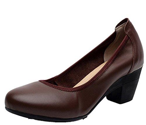 Confort Moyen Escarpins Bureau Ronde Wealsex Bout Femme Chaussure Talons Bloc Cuir Brun vwWTqdzTna