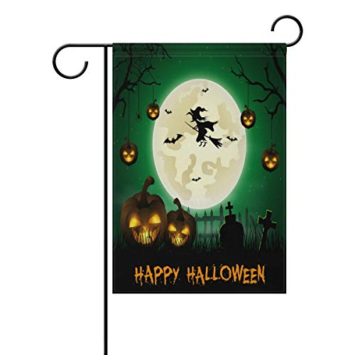 Andrea Back Halloween Background with Cemetery and Bats Double Sided Polyester Garden Flag Banner 12 x 18 inch Halloween Decorative Yard Flag for Party Home Outdoor -