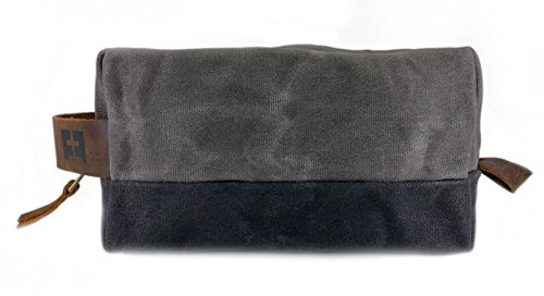 the DOPP KIT | waxed cotton canvas toiletry bag with leather handle (Cloud) by FAT FELT (Image #2)