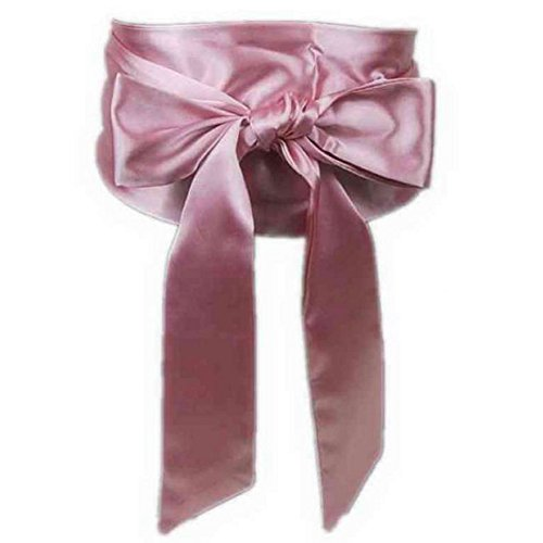 Pink Leather Belt Strap (NormCorer Wedding Bridal Double Layer Artificial Silk Sash Belt Bowknot (92.52