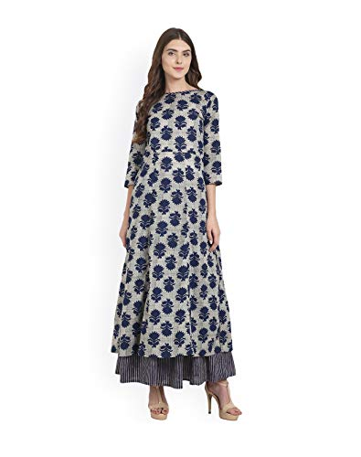 Women Blue & Beige Printed Kurta with Skirt Full Set Dream Angel Fashion (Small-34)