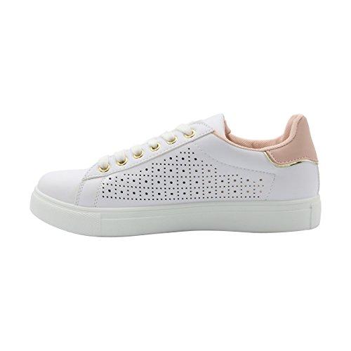 Gnd Mote-kvinner Laser Cut Snøre På Mote Sneaker Hvit