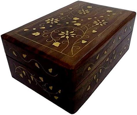 Purpledip Caja de Madera con Incrustaciones de latón Royal ...