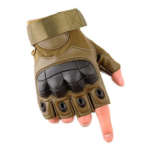 Wareken Military Tactical Fingerless Army Bicycle Airsoft Special Forces Fitness PU Leather Hard Knuckle Half Finger Gloves Men