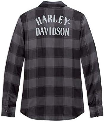 Harley-Davidson Women's Buffalo Plaid Shirt, Grey/Black