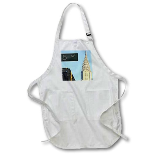 3dRose apr_10268_2 The Chrysler Building is an Art Deco Skyscraper in New York City-Medium Length Apron with Pouch Pockets, 22 by 24-Inch -