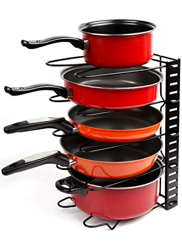 Height Adjustable Pan Organizer Rack, VDOMUS Pan and Pot Lid Holder Black Metal (Black) -