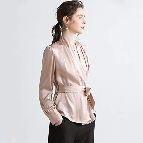Unita Con In Comoda Camicia Tuta Tinta A Champagne Xcxdx Molle Rosa V Seta Cintura Blusa Scollo 5PSqnw6X