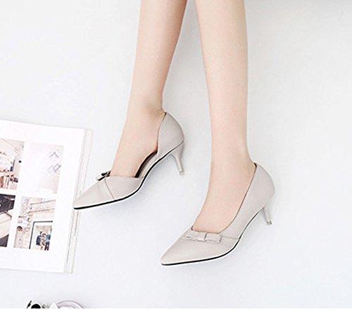 Aisun Damen Elegant Spitz Zehen Cut Out Schleife Kitten Heel Pumps Sandale Grau
