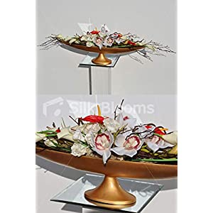 Silk Blooms Ltd Artificial White Cymbidium Orchid and Red Anthurium Floral Arrangement w/Long Gold Vase 108