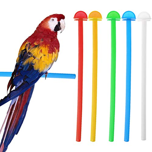 (Seaskyer 5Pcs Bird Cage Perch Stand Holder Plastic Bird Finch Canary Budgie Cage Platform Length 26.5cm(10.43in) Width 1cm(0.39in))