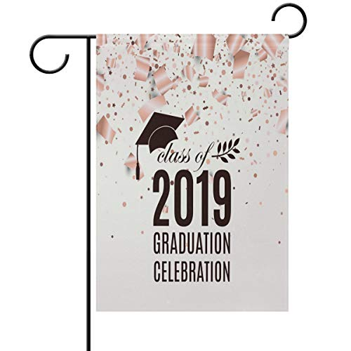 Yochoice ALAZA 2019 Graduation with Hat and Confetti Polyester Garden Flag House Banner 12 x 18 inch, Two Sided Welcome Yard Decoration Flag for Wedding Party Home Decor -