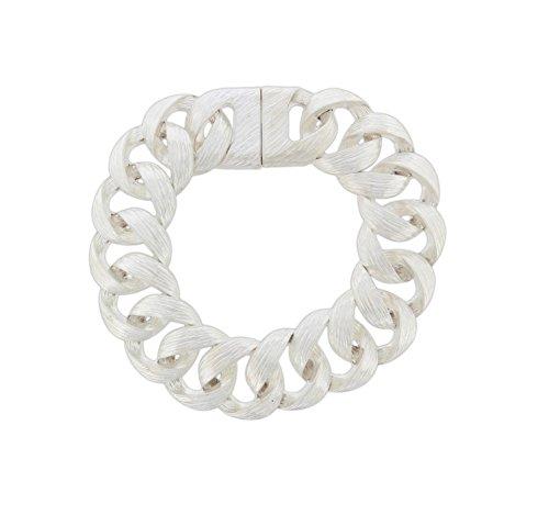 Circle Link Magnetic Clasp Bracelet - Barlow Knotted Links Bracelet Silver-Tone Matte Finish