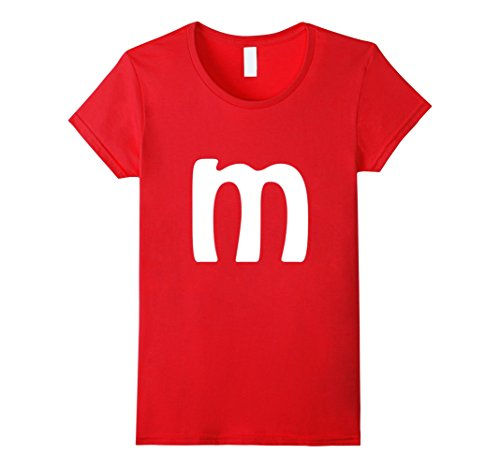 Womens M Letter Brilliant Last Minute Halloween Costume T-shirt Small Red (Halloween Costumes Letter E)