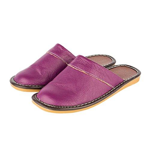 Haisum Womens Summer Genuine Leather Slippers Indoor Luxury Novelty Closed Toe Slip On House Sandals Purple