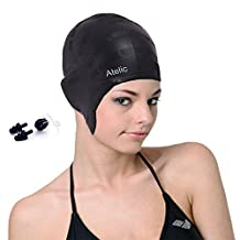 #1 TOP RATED SWIM CAP - Atelic® Swim Cap Equipment Silicone Solid Swim Caps with free Nose Clip and Ear Plugs for Adult Women Men Youth