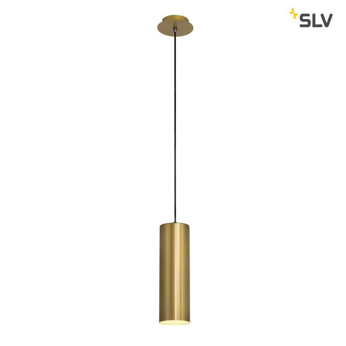 SLV Pendelleuchte ENOLA   Dimmbare LED Deckenleuchte, Hängelampe für Wohnzimmer, Bar, Esszimmer  Decken-Lampe in exklusivem Zylinder Design (Material Aluminium Stahl, E27 Leuchtmittel, EEK E-A++, Gold)