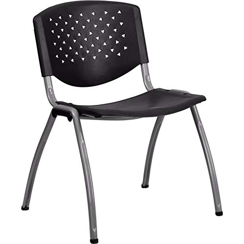 (Offex Polypropylene Stack Chair with Titanium Frame Finish - Black)
