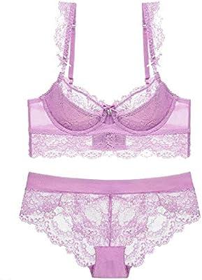 95447f92815 Women Sheer Mesh See-Through Sheer Bras and Panties Set Bra Lace ...