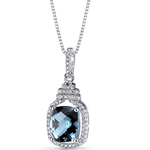 London Blue Topaz Halo Crown Pendant Necklace Sterling Silver 3.25 Carats ()