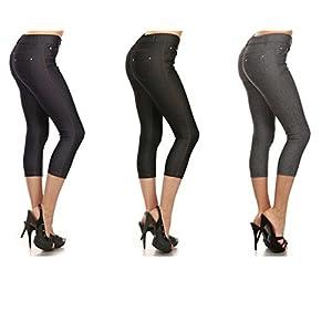 Yelete Belle Donne Solid Color Capri Jeggings For Women - Soft and Stretchy Leggings (Medium, Black/Gray/Navy)