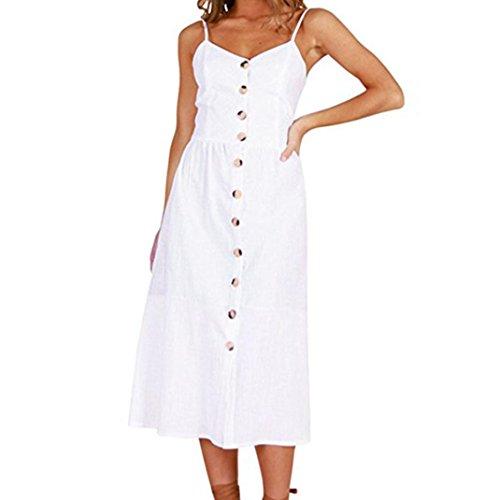 Vestidos Mujer Casual,Mujeres Vacaciones Rayas Damas Verano Playa Botones Vestido de Fiesta LMMVP E