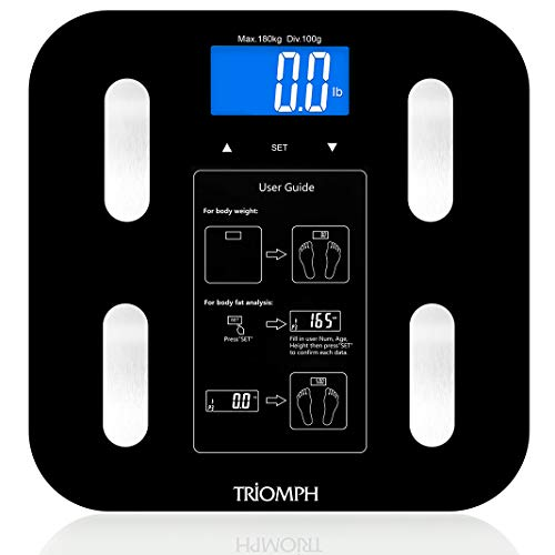 Triomph Body Fat Scale, Digital Bathroom Scale Body Composition Analyzer with Backlit LCD for Body Weight, Fat, Water, Muscle, BMI, Bone Mass and Calorie, 10 Users, 400 lbs Fat Loss Monitor, Black (Best Fat Loss Monitor)