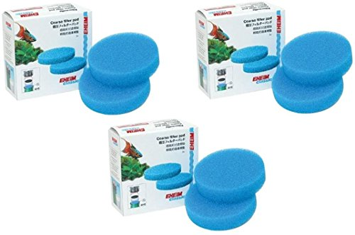 EHEIM Coarse Filter Pad (Blue) for Classic External Filter 2213 - 6 Total Filters (3 Packs with 2 per Pack)
