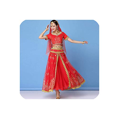 Dance Wear Women Performance Indian Sari Outfit Bollywood Belly Dance Costumes Set,Red,M]()