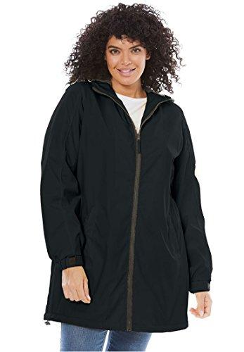 Fleece Plus Size Coat - Women's Plus Size Hooded Slicker Raincoat Black,2X