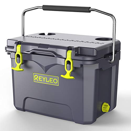REYLEO Camping Cooler | Portable Rotomolded Cooler Keeps Ice Up to 5 Days | Bear-Resistant 21-Quart Ice Chest (Built-in Bottle Opener, Cup Holder, Fish Ruler) for Camping, BBQs, Tailgating, Fishing