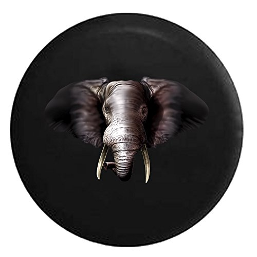 Grey African Elephant with Ivory Tusks Spare Tire Cover Black 31 in