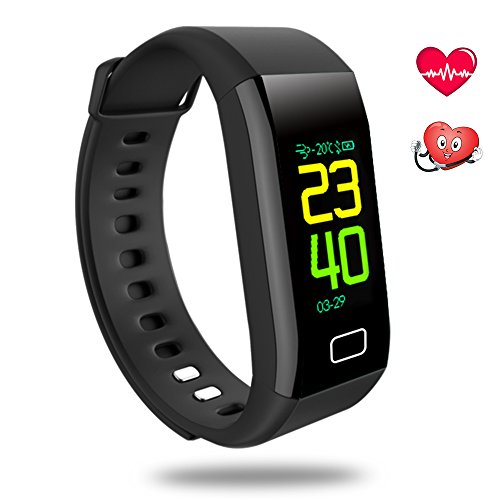 Oxyland Fitness Tracker HR, Activity Tracker with Heart Rate and Blood Pressure Monitor,Fitness Watch IP67 Waterproof Workout Tracker for Kids Women and Men Health Trackers Wristband (Black) by