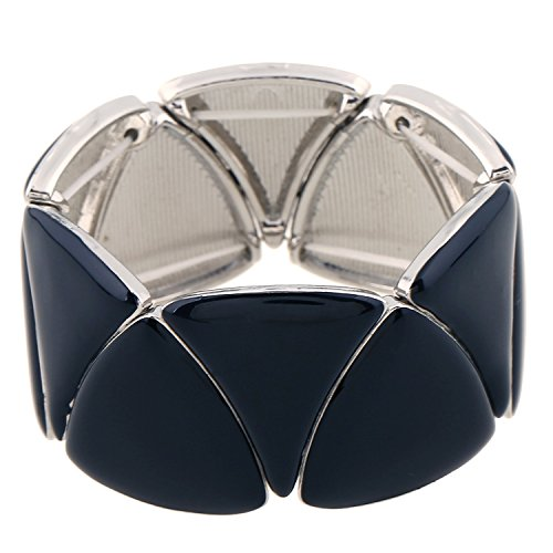 (D EXCEED Statement Geometric Shaped Wide Enamel Bangle Stretch Bracelet for)