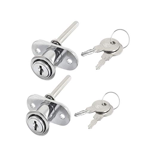 COMOK 2Pcs Drawer and Cabinet Lock, Stainless Steel Home Cylinder Head Security Cabinet Plunger Lock with 2 Keys - Secure Important Files and Drawers, Silver Tone (Cabinet Plunger File For Lock)