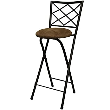 "New 30"" folding bar stools in bronze with cushioned seat for dining and kitchen"
