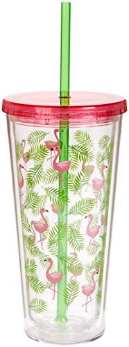 C.R. Gibson QITS-20872 Flamingo Insulated Tumbler w/straw, 20 oz./4