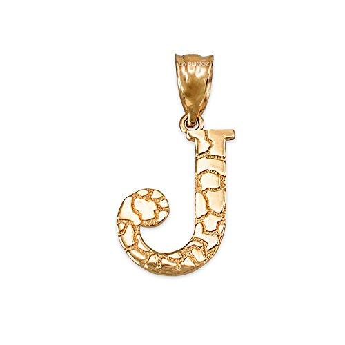 LA BLINGZ 14K Yellow Gold Nugget Initial Letter Alphabet Charm Pendant (Letter J) ()
