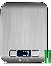 Etekcity EK6015 Báscula Digital para Cocina de Acero Inoxidable, 5kg / 11 lbs, Balanza de Alimentos Multifuncional, Peso de Cocina, Color Plata (Baterías Incluidas)